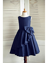 A-line Knee-length Flower Girl Dress - Taffeta Sleeveless