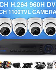 yanse® 1100tvl 2.8mm telecamere a circuito chiuso a 4 canali seystem kit DVR IR di colore impermeabile telecamere di sicurezza d / n (960H