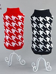 Cat / Dog Sweater Red / Black Dog Clothes Winter Geometic Casual/Daily / New Year's