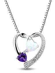 la mode sterling l'argent des femmes mis en améthyste \ diamant \ créé opale en forme de coeur pendentif avec la chaîne boîte de Silve
