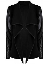 Peach John Women's Patchwork PU Casual  Long Sleeve Coats