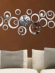 Acrylic DIY 3D Mirror Home Decor Circular Ring Butterfly Wall Clock Mirror Surface Sticker