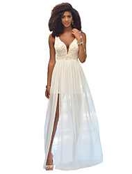 Women's Lace White / Black Dresses , Sexy / Party V-Neck Sleeveless
