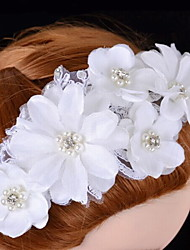 Women's Satin / Lace / Rhinestone / Imitation Pearl Headpiece - Wedding / Special Occasion Flowers
