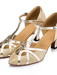 Customizable Women's Dance Shoes Leather / Sparkling Glitter Leather / Sparkling Glitter Latin Heels Stiletto Heel IndoorBlack / Silver /