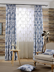 (Two Panels)Modern Building Printed Polyester Energy Saving Curtain(Sheer Not Included)