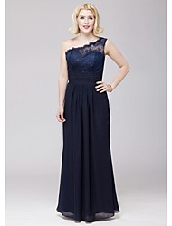 Floor-length One Shoulder Bridesmaid Dress - Elegant Sleeveless Chiffon Lace