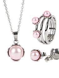 Fashion Women Jewelry Set Stainless steel imitation pearl pendant with a pair earrings and a ring