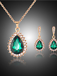 Lucky Doll Women's All Matching Crystal Rose Gold Plated Zirconia Water Drop Necklace & Earrings Jewelry Sets