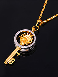 TopGold New Key Pendant Necklace 18K Gold Platinum Plated Vintage Jewelry Gift for Women Men High Quality