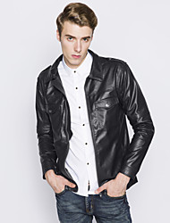 Men's European Style Fashion Double Pocket Slim Fit Motorcycle Leather Jacket