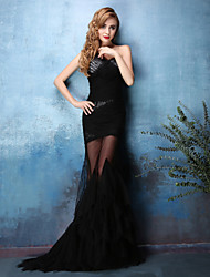 Formal Evening Dress - Black Trumpet/Mermaid One Shoulder Sweep/Brush Train Lace / Tulle