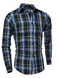 Men's Casual/Daily Simple Street chic All Seasons Shirt,Plaid Classic Collar Long Sleeves Cotton Thin