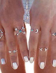 The Moon Turquoise Alloy Ring Midi Rings Daily / Casual 6pcs