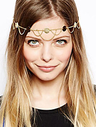 Women Gold Plated Sequins Waves Tassel Chain Headband Hair Bands Hair Accessories