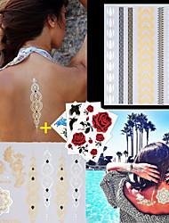3PCS Colorful Tattoos+ 2PCS Flash Tattoo Gold Tattoo Fake Taty Metallic Tattoo Temporary Tattoo Sticker Metal Tatoos