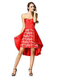 ts couture® cocktail A-Line Sweetheart asimmetrico in pizzo / raso con pizzo