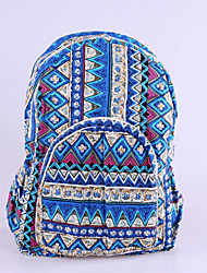 Women Canvas Baguette Backpack - Blue / Green / Red