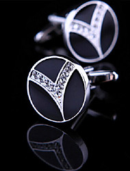 Fashion Men Jewelry Black Enamel Round CZ Crystal Silver Delicate Button Cufflinks(1Pair)