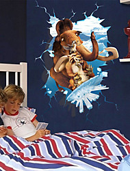 Cartoon Ice Age Animals Through Wall PVC Wall Sticker Wall Decals