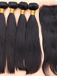 Slove Hair 7A Unprocessed Human Hair Products Peruvian 100% Virgin Straight Hair Extensions 4bundles With Lace Closure
