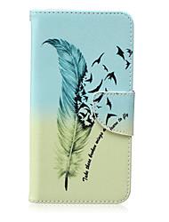 motif de plume en cuir PU matériau carte flip pour Samsung Galaxy Note 5/4/3
