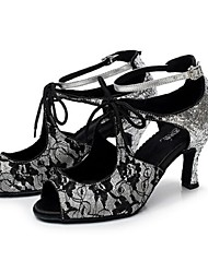 Non Customizable Women's Dance Shoes Latin Leather Flared Heel Black / Red / Gray