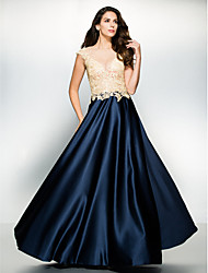 TS Couture® Formal Evening Dress A-line Scoop Floor-length Satin / Tulle with Appliques