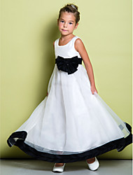 A-line Ankle-length Flower Girl Dress - Organza Scoop with Bow(s)