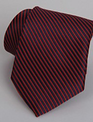 Black Red Striped Men Business Suit Tie Jacquard Necktie