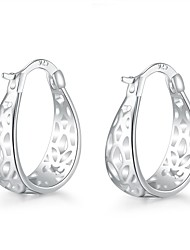 lureme®Fashion Style Silver Plated Oval Shaped Hoop  Earrings