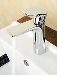 latão cromado contemporânea alça banheiro lavatório torneira da pia único quente e fria