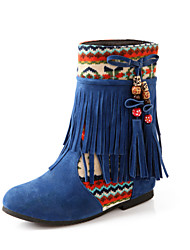 Women's Shoes  Low Heel Round Toe / Closed Toe Boots Office & Career / Dress / Casual Black / Blue / Brown / Beige