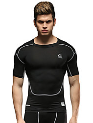 Running Tops Men's Short Sleeve Breathable Running Sports Sports Wear Black Solid S / M / L / XL