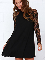 Women's Lace Splicing Chiffon Round Long Sleeve Loose Dress