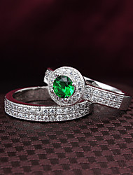 2015 Fashion Siliver Plated Noble 2pcs Green CZ Stone Ring Band Rings For Woman & Lady