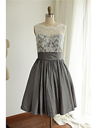 Knee-length Lace / Taffeta Bridesmaid Dress A-line Jewel with Bow(s) / Lace / Pleats