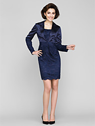Lanting Sheath/Column Mother of the Bride Dress - Dark Navy Short/Mini Long Sleeve Lace / Charmeuse