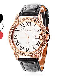 Mulheres Relógio de Moda Quartzo PU Banda Brilhante Preta Branco Vermelho Branco Preto Vermelho