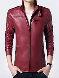 Men's Korean Fashion Stand Collar Outdoor Leather Jacket