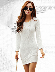 Women's Solid / Lace White / Black Mini Dress , Sexy / Bodycon / Lace Round Neck Long Sleeve