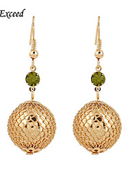 D Exceed Gold Plated Long Drop Earrings for Women Zinc Alloy Olivine Crystal Beads Inlaid Fashion Earrings Jewelry