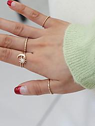 European Style Fashion Personality Rhinestone Sun Stars Ring Set