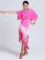 Imported Nylon Viscose with Tassels Latin Dance Outfits for Women's Performance (More Colors)