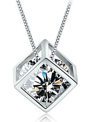 Zircon Sterling Silver Square Necklace Clavicle Chain