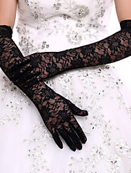 Black Lace Bridal Opera Length Gloves Wedding Glove for Events/Party Wedding Dress With DIY Pearls and Rhinestones