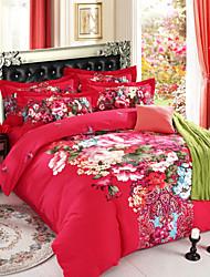 ropa de cama de establecer sarga de algodón molesto para mantener la ropa de cama de flor grande edición cálida cuatro piezas