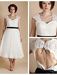 A-line Wedding Dress - Ivory Tea-length Straps Lace / Tulle