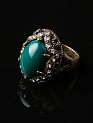 Gemstone Ancient Gold Plated Hypoallergenic Noble Big Ring
