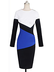 Women's Party/Cocktail Bodycon Dress,Patchwork Round Neck Knee-length Long Sleeve White Cotton Fall
